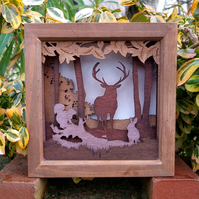 Wooden 3D Laser Cut Picture - If You Go Down In The Woods Today