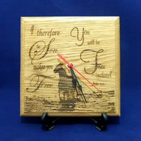 Laser Engraved Wooden Clock -  John 8:36 - The Son Makes You Free