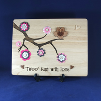 Laser Engraved Wooden Plaque - 'Twoo Mum With Love'
