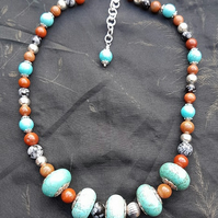 Fantastic chunky mixed Gemstone Necklace - Unusual