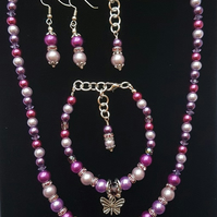 Purple and butterflies, Necklace, bracelet and earring set.