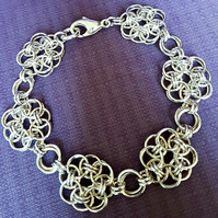 Beautiful Sterling Silver Flower Unit Bracelet - Made to order