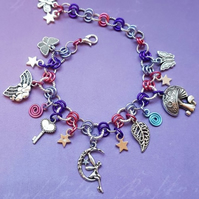 Pink and purple fairy charm Bracelet.