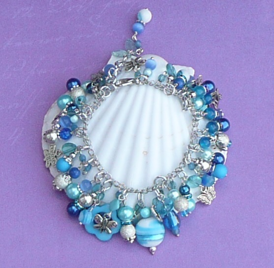 Into the Blue with Butterflies Charm bracelet