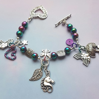 Unicorn Charm bracelet 2 with Rainbow Haematite beads