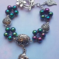 Unicorn Charm bracelet 3 with Rainbow Haematite beads