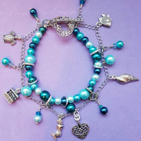 Mermaid Charm bracelet, Colours of the Sea