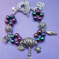 Mermaid charm bracelet with Rainbow Haematite beads.