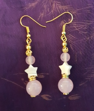 Gorgeous Rose Quartz and Stars earrings
