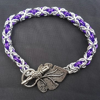 Purple grape Byzantine bracelet - Made to order