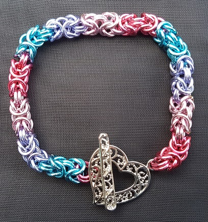 Pinks and Blues Byzantine bracelet