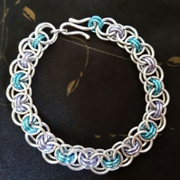 Silver, Blue and Lilac Helms weave bracelet