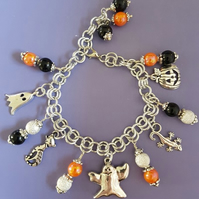 Spooky Black and Orange Halloween charm bracelet