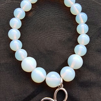 Mystical Moonstone Stretch Bracelet with Butterfly Charm