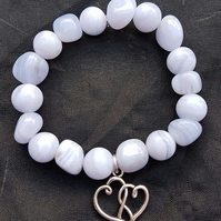 Beautiful Blue Lace Agate stretch Bracelet with double heart charm