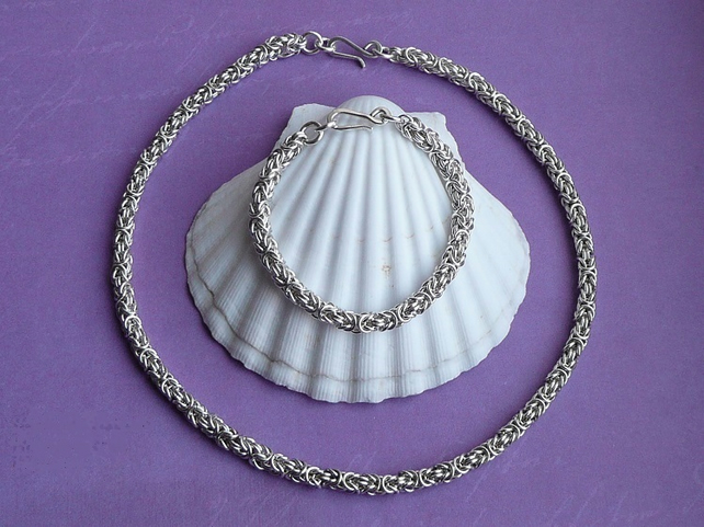 Sterling Silver Byzantine Necklace and Bracelet set - Made to order, Gift boxed