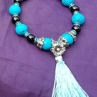 Beautiful Turquoise Stretch Bracelet with Tassel