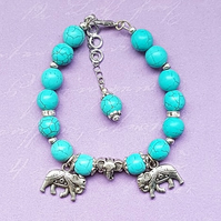 Beautiful Turquoise Triple Elephant Charm Bracelet