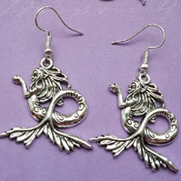 Large Mermaid Charm Earrings