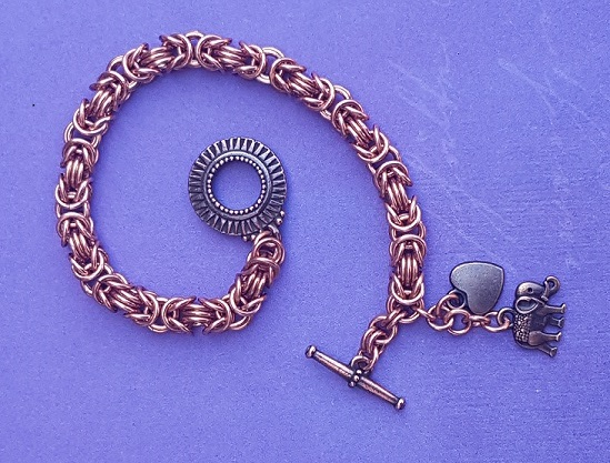 Copper Byzantine Bracelet with heart and Elephant charms