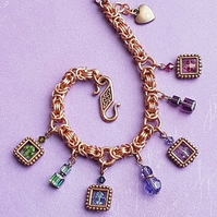 Gorgeous Copper Byzantine Bracelet with dangly Crystal Charms