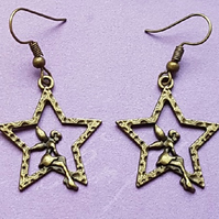 Bronze tone Fairy Star Charm Earrings