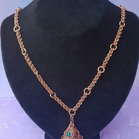 Bejewelled 3D Pyramid Pendant on Copper Chain.