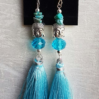 Beautiful Blue tassel Buddha charm Earrings