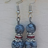 Amazing Snowflake Obsidian and red Crystal Earrings