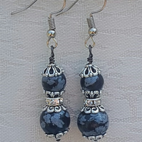 Beautiful Snowflake Obsidian and crystal earrings