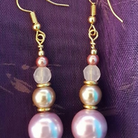 Beautiful beaded Pink and gold-tone Earrings