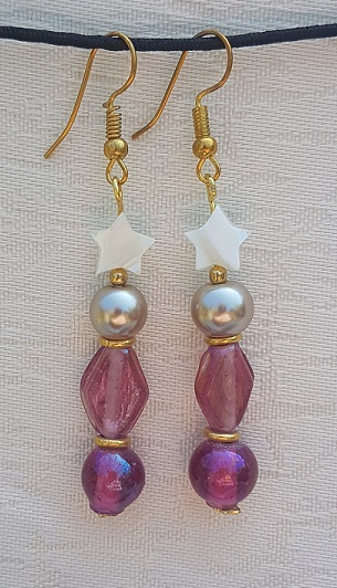 Lovely Pink glass and white stars Earrings