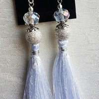Beautiful White Sparkly Bead and Tassel Earrings