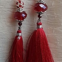 Beautiful Red Tassel and Crystal dangly Earrings