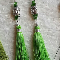 Green Buddha Tassel Earrings