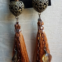 Brown Tones Tassel Earrings with dangly charms