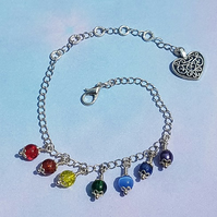 Gorgeous Rainbow Drops (Chakra Colours) Bracelet