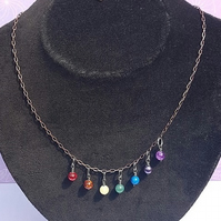 Gorgeous Rainbow Drops (Chakra Colours) Necklace No3 dark tones