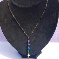 Gorgeous Rainbow Chakra Colours Dangle Necklace No4 Dark Tones