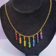 Gorgeous Rainbow (Chakra Colours) Triple Drops Necklace No5