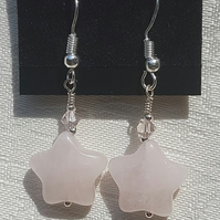 Beautiful Rose Quartz Star earrings