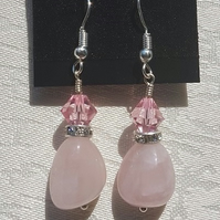 Gorgeous Rose Quartz and Crystal Earrings