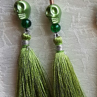 Green tassel Skull Earrings