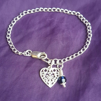Elegant Sterling Silver Chain Bracelet with Heart charm and Crystal