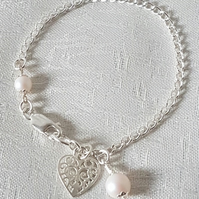 Gorgeous Sterling Silver Chain Bracelet with Swarovski Pearls