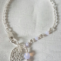 Gorgeous Sterling Silver Bracelet with Swarovski Crystals in Rosewater Opal