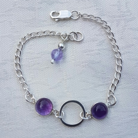 Gorgeous Sterling Silver and Amethyst Bubbles chain bracelet