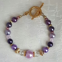Gorgeous Purple, Pink and gold tones Bracelet