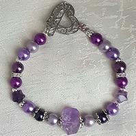 Gorgeous Purple bracelet with Amethyst nugget bead and heart toggle.