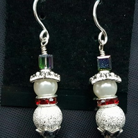 Festive Silver and Crystal Snowman Earrings